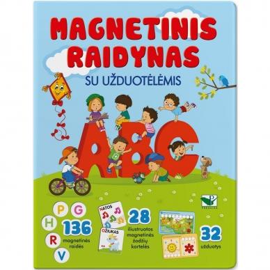 Magnetinis RAIDYNAS su užduotėlėmis. 136 raidės, 28 kortelės, 32 užduotys