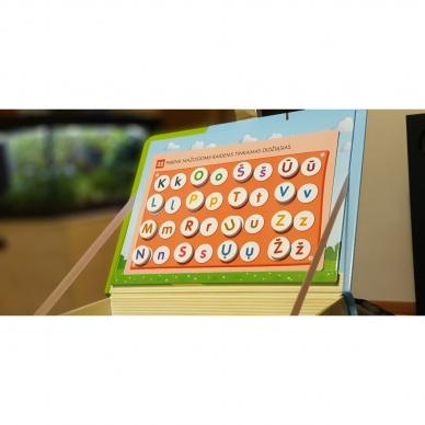 Magnetinis RAIDYNAS su užduotėlėmis. 136 raidės, 28 kortelės, 32 užduotys 9
