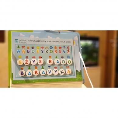 Magnetinis RAIDYNAS su užduotėlėmis. 136 raidės, 28 kortelės, 32 užduotys 18