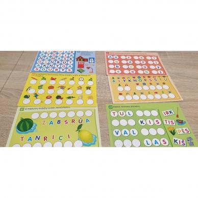 Magnetinis RAIDYNAS su užduotėlėmis. 136 raidės, 28 kortelės, 32 užduotys 6