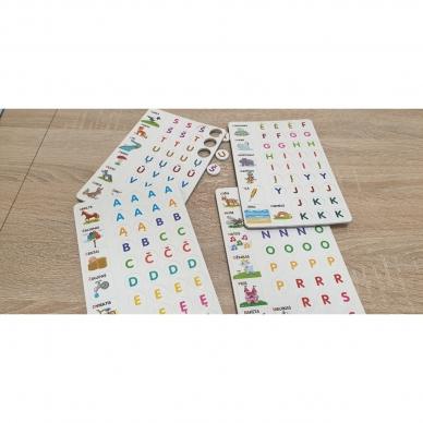 Magnetinis RAIDYNAS su užduotėlėmis. 136 raidės, 28 kortelės, 32 užduotys 7