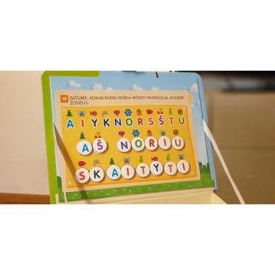 Magnetinis RAIDYNAS su užduotėlėmis. 136 raidės, 28 kortelės, 32 užduotys 14