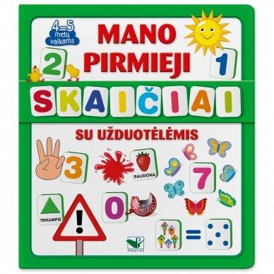 Mano pirmieji skaičiai SU UŽDUOTĖLĖMIS 4-5 metų vaikams (knyga su 64 putplasčio kortelėmis)