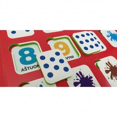 Mano pirmieji skaičiai SU UŽDUOTĖLĖMIS 4-5 metų vaikams (knyga su 64 putplasčio kortelėmis) 9