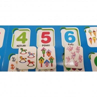 Mano pirmieji skaičiai SU UŽDUOTĖLĖMIS 4-5 metų vaikams (knyga su 64 putplasčio kortelėmis) 10