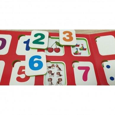 Mano pirmieji skaičiai SU UŽDUOTĖLĖMIS 4-5 metų vaikams (knyga su 64 putplasčio kortelėmis) 6
