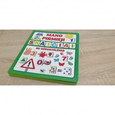 Mano pirmieji skaičiai SU UŽDUOTĖLĖMIS 4-5 metų vaikams (knyga su 64 putplasčio kortelėmis) 2