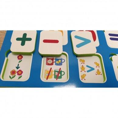 Mano pirmieji skaičiai SU UŽDUOTĖLĖMIS 4-5 metų vaikams (knyga su 64 putplasčio kortelėmis) 7