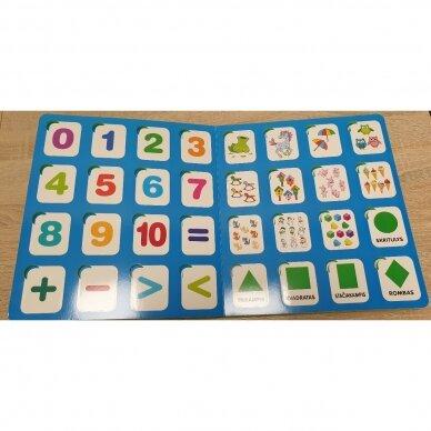 Mano pirmieji skaičiai SU UŽDUOTĖLĖMIS 4-5 metų vaikams (knyga su 64 putplasčio kortelėmis) 3