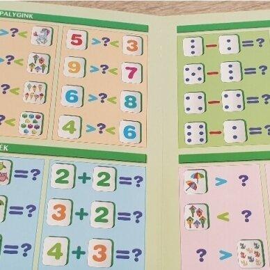 Mano pirmieji skaičiai SU UŽDUOTĖLĖMIS 4-5 metų vaikams (knyga su 64 putplasčio kortelėmis) 4