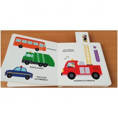 Mano pirmoji knygelė. TRANSPORTAS. Su judančiais elementais. 1-2 m.vaikams. 5