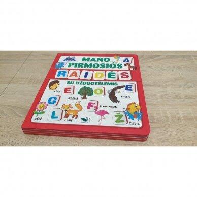 Mano pirmosios raidės SU UŽDUOTĖLĖMIS 4-5 metų vaikams (knyga su 64 putplasčio kortelėmis) (2021 m.) 2