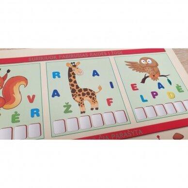 Mano pirmosios raidės SU UŽDUOTĖLĖMIS 4-5 metų vaikams (knyga su 64 putplasčio kortelėmis) (2021 m.) 9