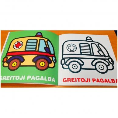 Mažylis spalvina. Stori blizgūs kontūrai. Transportas. 2-3 metų vaikams (nedideli defektai) 3