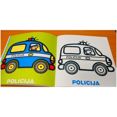 Mažylis spalvina. Stori blizgūs kontūrai. Transportas. 2-3 metų vaikams (nedideli defektai) 4