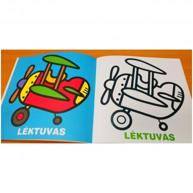 Mažylis spalvina. Stori blizgūs kontūrai. Transportas. 2-3 metų vaikams (nedideli defektai) 5