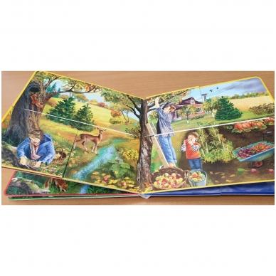 Metų laikai. Knyga su atvartėliais. Kaip keičiasi gamta, ką veikia žmonės. Pavasaris, vasara, ruduo, žiema. 5