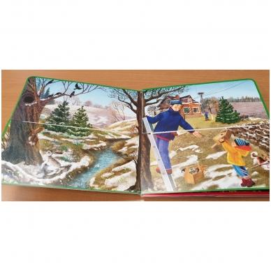 Metų laikai. Knyga su atvartėliais. Kaip keičiasi gamta, ką veikia žmonės. Pavasaris, vasara, ruduo, žiema. 8