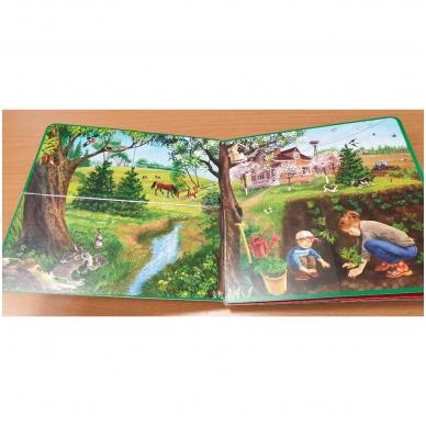 Metų laikai. Knyga su atvartėliais. Kaip keičiasi gamta, ką veikia žmonės. Pavasaris, vasara, ruduo, žiema. 9