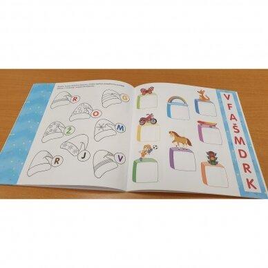 Noriu pažinti raides. 4-5 metų vaikams. Užduotėlės su karpymo elementais 2