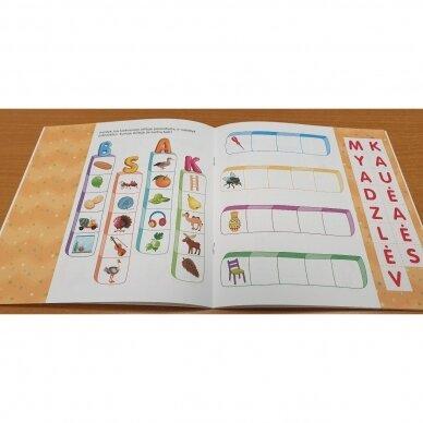 Noriu sudėti žodžius. 5-6 metų vaikams. Užduotėlės su karpymo elementais 4