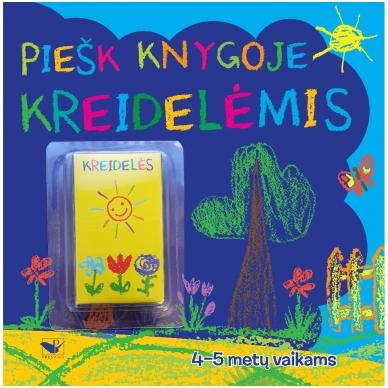 Piešk knygoje kreidelėmis + 5 kreidelės. 4-5 metų vaikams
