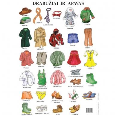 """Plakatas """"Drabužiai ir apavas"""" (A2 formato)"""