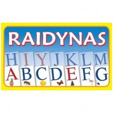 Raidynas. Rinkinį sudaro: dėžutė, 70 raidžių su iliustracijomis kortelės
