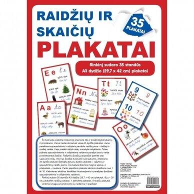 Raidžių ir skaičių plakatai (35 standūs A3 formato plakatai) (smulkūs defektai, išpakuoti)