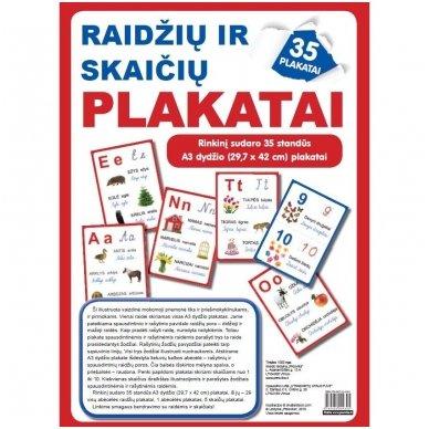 Raidžių ir skaičių plakatai (35 standūs A3 formato plakatai)