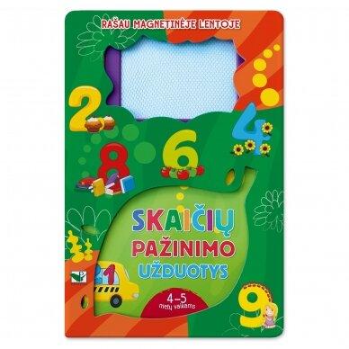 Rašau magnetinėje lentoje. Skaičių pažinimo užduotys. 4-5 m. vaikams
