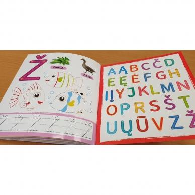 Rašau raides. 4-5 metų vaikams. Nutrynęs vėl rašyk. Su flomasteriu 6