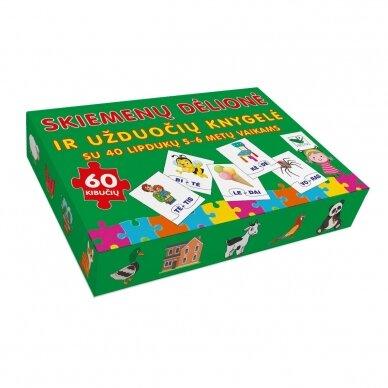 Skiemenų dėlionė ir užduočių knygelė su 40 lipdukų 5-6 metų vaikams