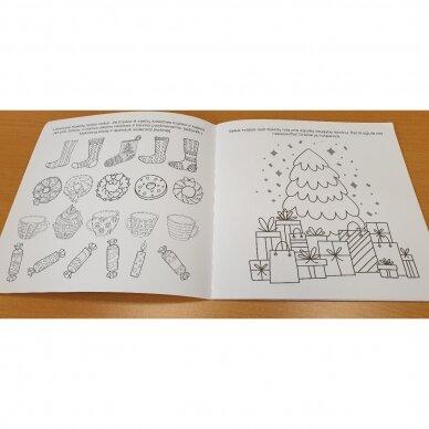 Švęskime Kalėdas! 5-6 metų vaikams. 4 knygelės (3 užduočių ir 1 lipdukų), 250 lipdukų, 6 spalvoti pieštukai, 3 kalėdiniai žaisliukai 9