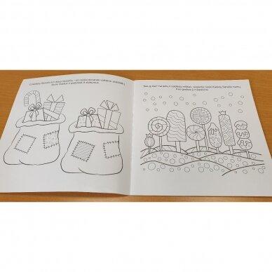 Švęskime Kalėdas! 5-6 metų vaikams. 4 knygelės (3 užduočių ir 1 lipdukų), 250 lipdukų, 6 spalvoti pieštukai, 3 kalėdiniai žaisliukai 10