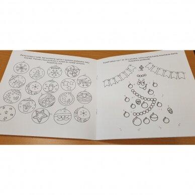 Švęskime Kalėdas! 5-6 metų vaikams. 4 knygelės (3 užduočių ir 1 lipdukų), 250 lipdukų, 6 spalvoti pieštukai, 3 kalėdiniai žaisliukai 12
