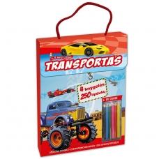 Transportas. Knygelių rinkinys. 2 spalvinimo knygelės, užduotėlių knygelė, 250 lipdukų knygelė ir 6 spalvoti pieštukai
