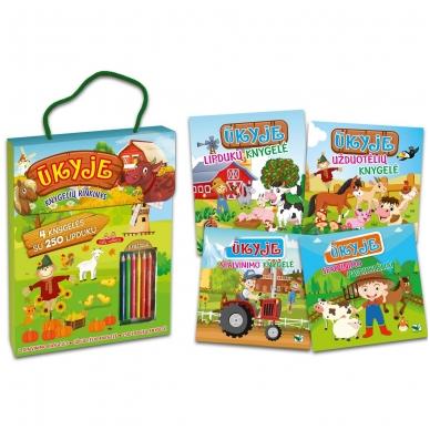 Ūkyje. Knygelių rinkinys. 2 spalvinimo knygelės, užduotėlių knygelė, 250 lipdukų knygelė ir 6 spalvoti pieštukai 2