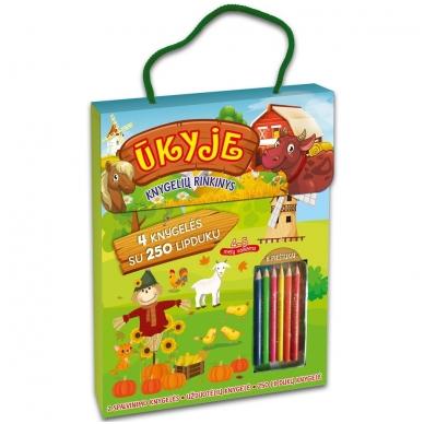 Ūkyje. Knygelių rinkinys. 2 spalvinimo knygelės, užduotėlių knygelė, 250 lipdukų knygelė ir 6 spalvoti pieštukai