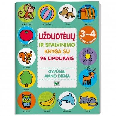 Užduotėlių ir spalvinimo knyga su 96 lipdukais 3-4 metų vaikams. GYVŪNAI. MANO DIENA