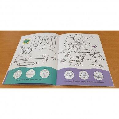 Užduotėlių ir spalvinimo knyga su 96 lipdukais 3-4 metų vaikams. GYVŪNAI. MANO DIENA 2