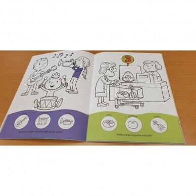 Užduotėlių ir spalvinimo knyga su 96 lipdukais 3-4 metų vaikams. GYVŪNAI. MANO DIENA 3
