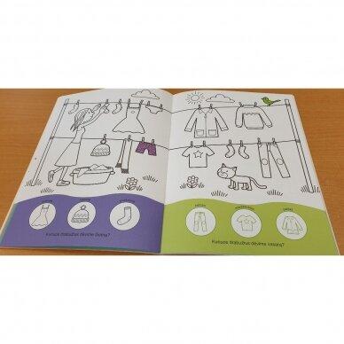 Užduotėlių ir spalvinimo knyga su 96 lipdukais 3-4 metų vaikams. GYVŪNAI. MANO DIENA 4