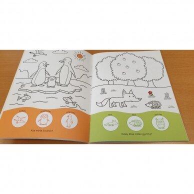Užduotėlių ir spalvinimo knyga su 96 lipdukais 3-4 metų vaikams. GYVŪNAI. MANO DIENA 5