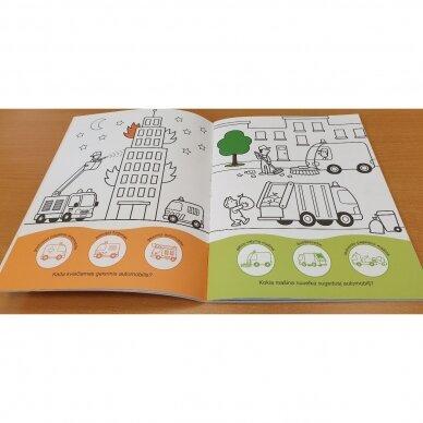 Užduotėlių ir spalvinimo knyga su 96 lipdukais 3-4 metų vaikams. KAIMAS. TRANSPORTAS 2