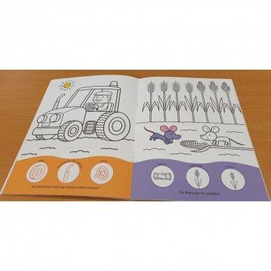 Užduotėlių ir spalvinimo knyga su 96 lipdukais 3-4 metų vaikams. KAIMAS. TRANSPORTAS 3