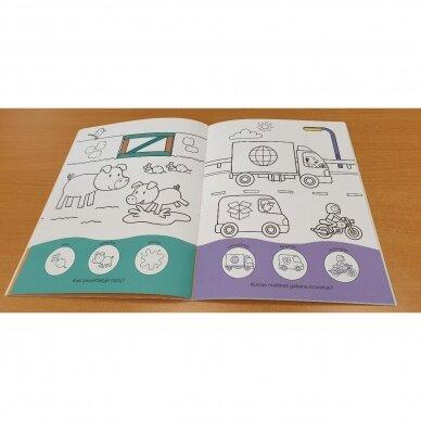 Užduotėlių ir spalvinimo knyga su 96 lipdukais 3-4 metų vaikams. KAIMAS. TRANSPORTAS 4