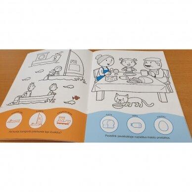 Užduotėlių ir spalvinimo knyga su 96 lipdukais 3-4 metų vaikams. KAIMAS. TRANSPORTAS 5