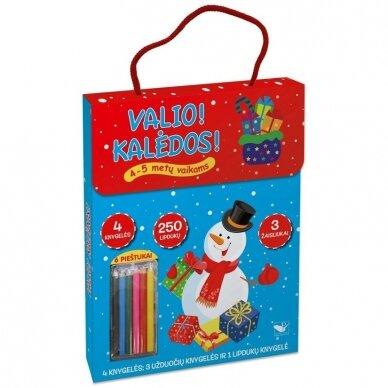 Valio! Kalėdos! 4-5 metų vaikams. 4 knygelės (3 užduočių ir 1 lipdukų), 250 lipdukų, 6 spalvoti pieštukai, 3 kalėdiniai žaisliukai