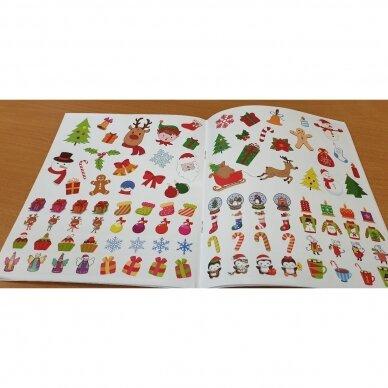 Valio! Kalėdos! 4-5 metų vaikams. 4 knygelės (3 užduočių ir 1 lipdukų), 250 lipdukų, 6 spalvoti pieštukai, 3 kalėdiniai žaisliukai 9